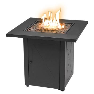 48000 BTU 28 in. x 25 in. Square Outdoor Propane Gas Fire Pit Table Quick Ignition Black Table Top Iron