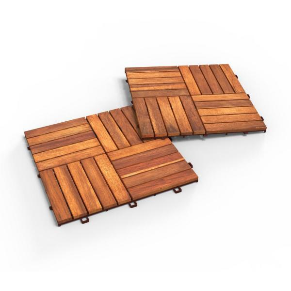 1 ft. L x 1 ft. W x 0.5 in. T CAMP 20 Acacia Deck Tile in Golden Teak (10-Pack)