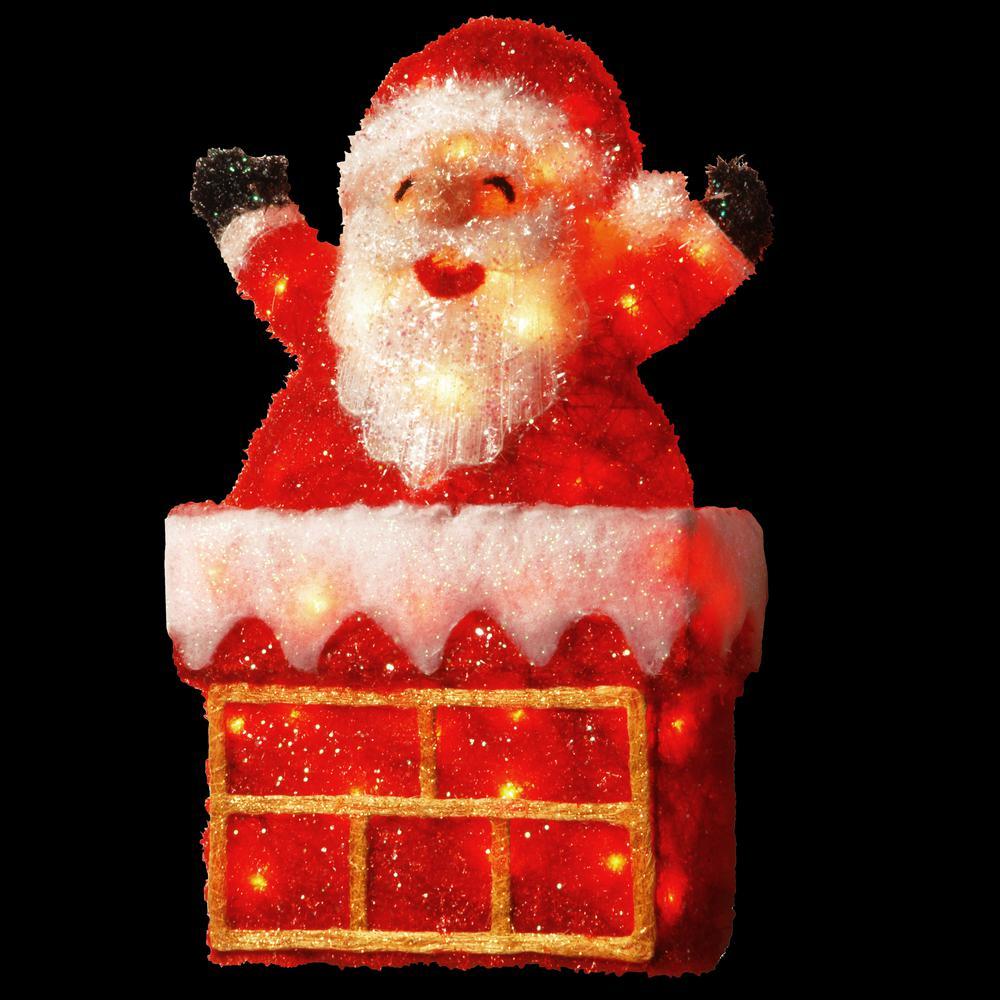 Pre-Lit 24 in. Tinsel Santa on Chimney