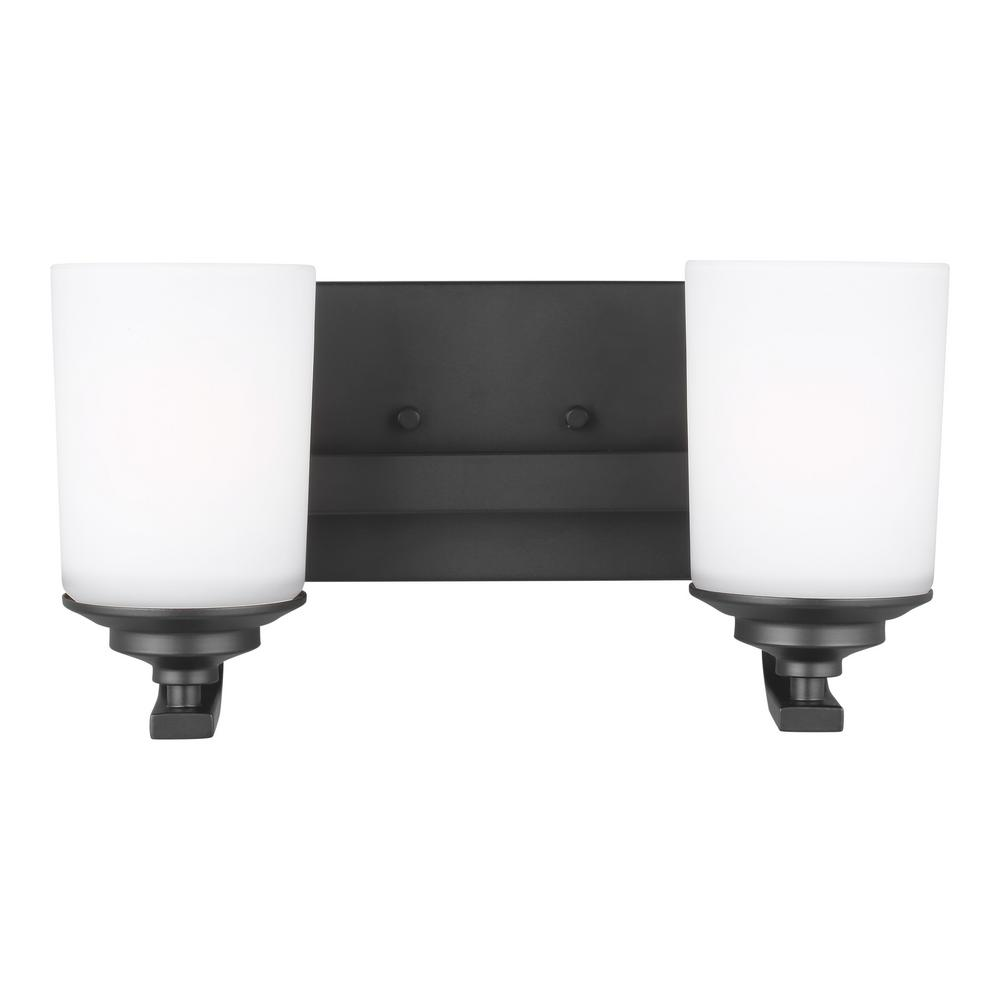 Kemal 13.75 in. 2-Light Midnight Black Vanity Light with Etched White Inside Glass Shades