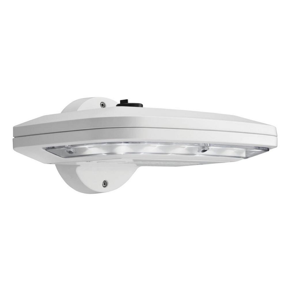 Led Photocell Wall Light : Lithonia Lighting White Outdoor Integrated LED Wall Pack Light with Dusk to Dawn Photocell-OLW14 ...