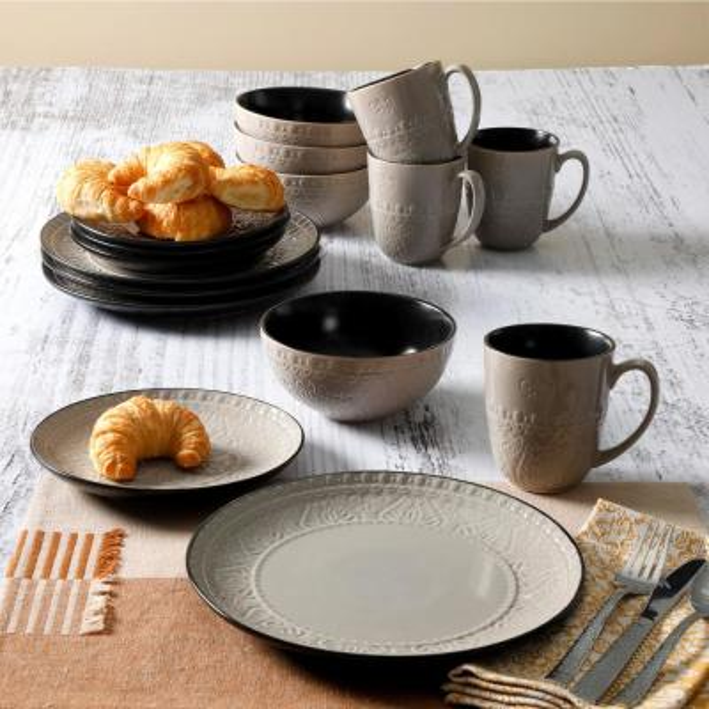 Milanto 16-Piece Grey Dinnerware Set (Service for 4)