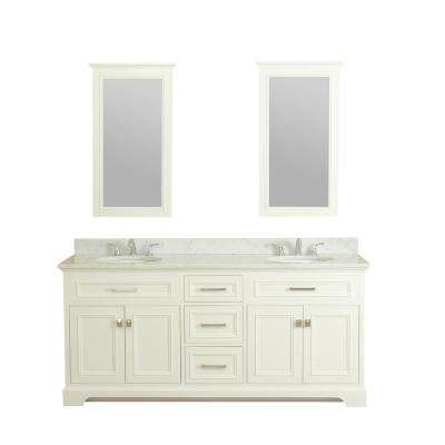 Yorkshire 73 in. W x 22 in. D Vanity in White with Marble Vanity Top in White with White Basin and Mirror