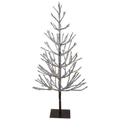 4 ft. Pre-Lit LED Brown Artificial Christmas Tree with Icicle Lights with Warm White Lights