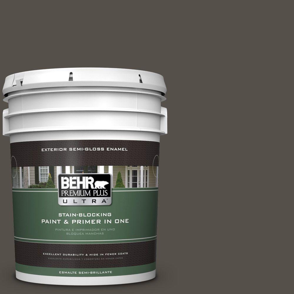 5-gal. #790D-7 Black Bean Semi-Gloss Enamel Exterior Paint