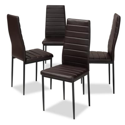 New Casual Design Tufted Gray Bi Cast Leather Chrome Legs Dining Chairs 4pc Set