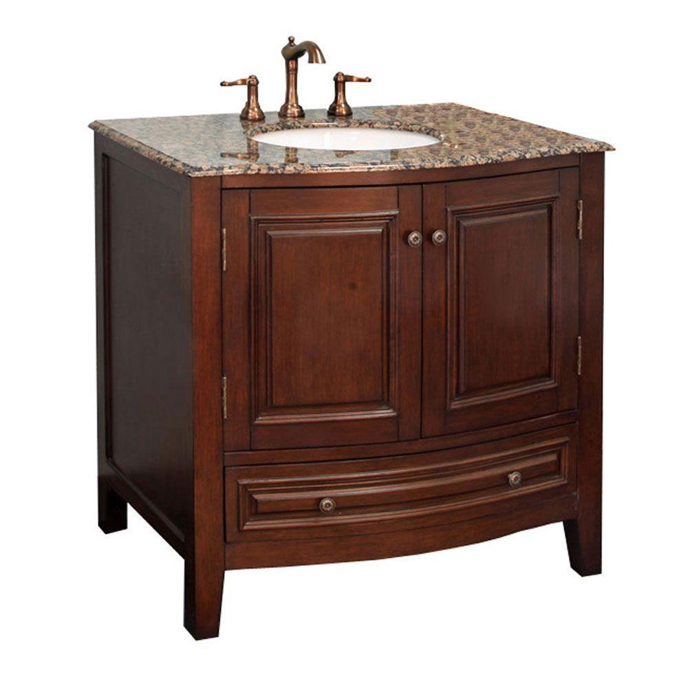 Bellaterra Home Warrington 36 inch Single Vanity in Dark Walnut with Marble Vanity Top in... by Bellaterra Home