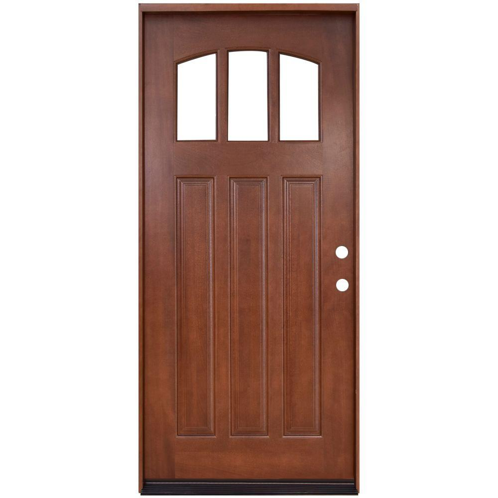 Steves sons 36 in x 80 in craftsman 3 lite arch for Exterior front entry wood doors with glass