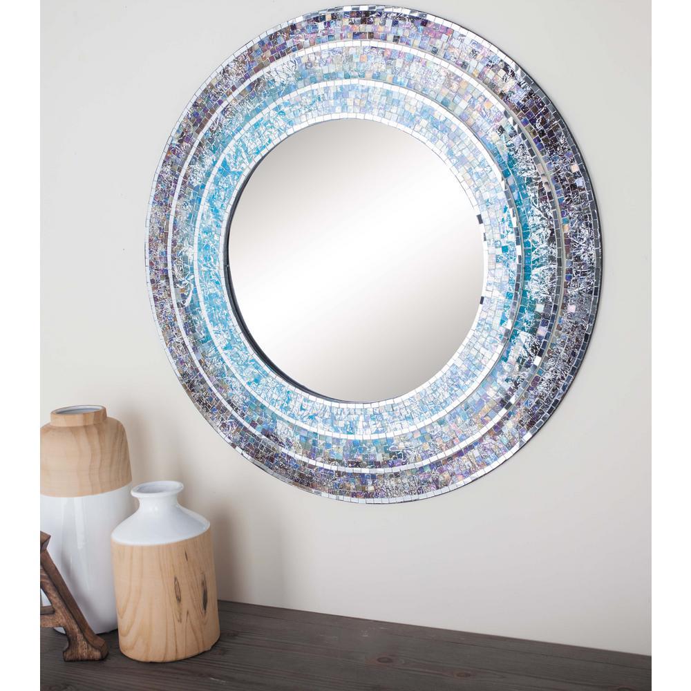Litton Lane 30 in. Modern Turquoise Mosaic Framed Wall Mirror