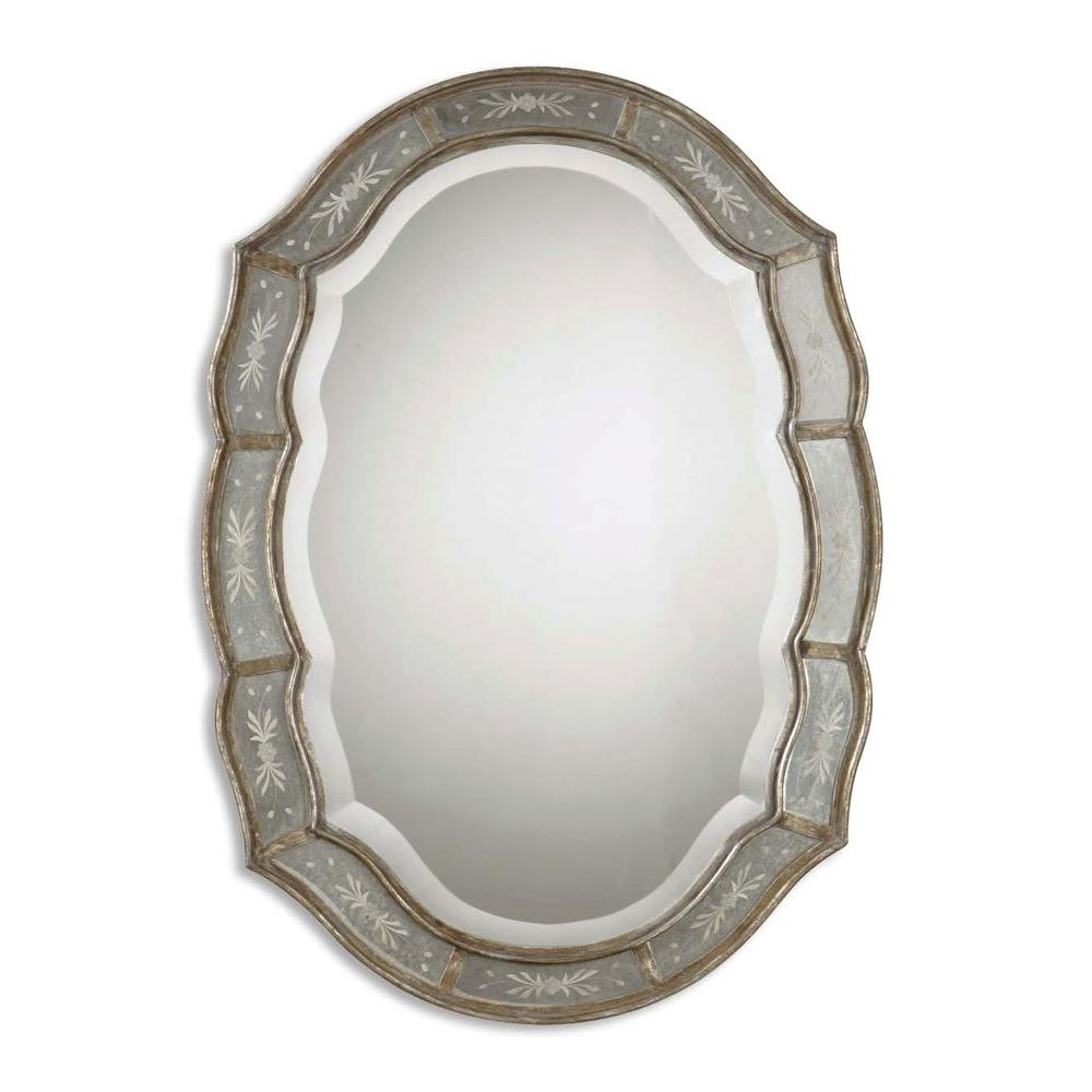 Global Direct 35 in. x 25 in. Antiqued Gold Leaf Framed Mirror