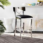 Zoey 26.5 in. Stainless Steel Cross Back Counter Stool in Black