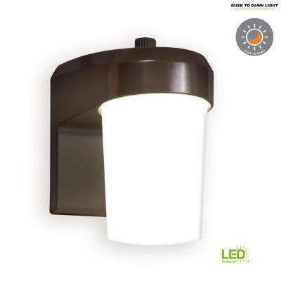 Bronze Outdoor Integrated LED Jelly Jar Entry and Area Light with Dusk to Dawn Photocell Sensor, 5000K Daylight