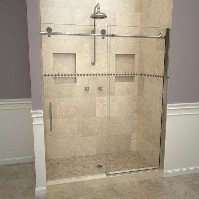 2800V Series 47 in. W x 76 in. H Semi-Frameless Sliding Shower Door in Polished Chrome with Pull Handles and Clear Glass