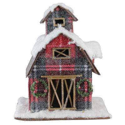 11.75 in. Holiday Moments Classic Red Plaid Snow Covered Barn Christmas Decoration
