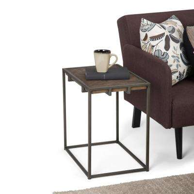 Avery Distressed Java Brown Wood Inlay Narrow End Side Table