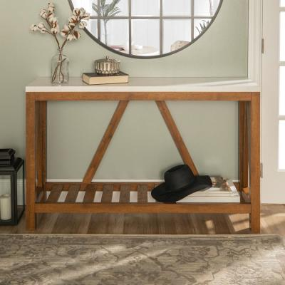 52 in. A-Frame Rustic Faux Marble and Walnut Entry Console Table
