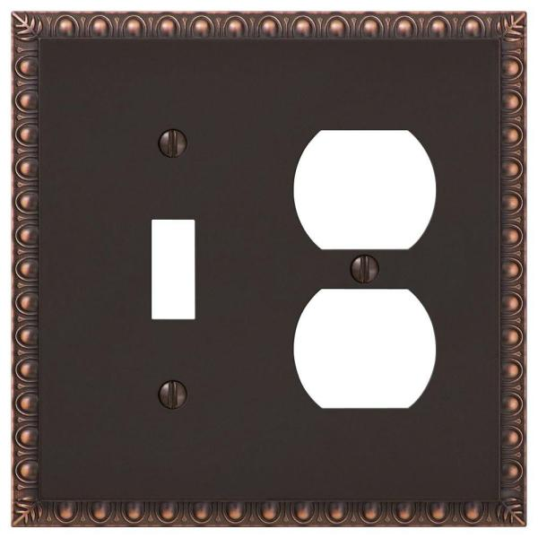 Antiquity 2 Gang 1-Toggle and 1-Duplex Metal Wall Plate - Aged Bronze