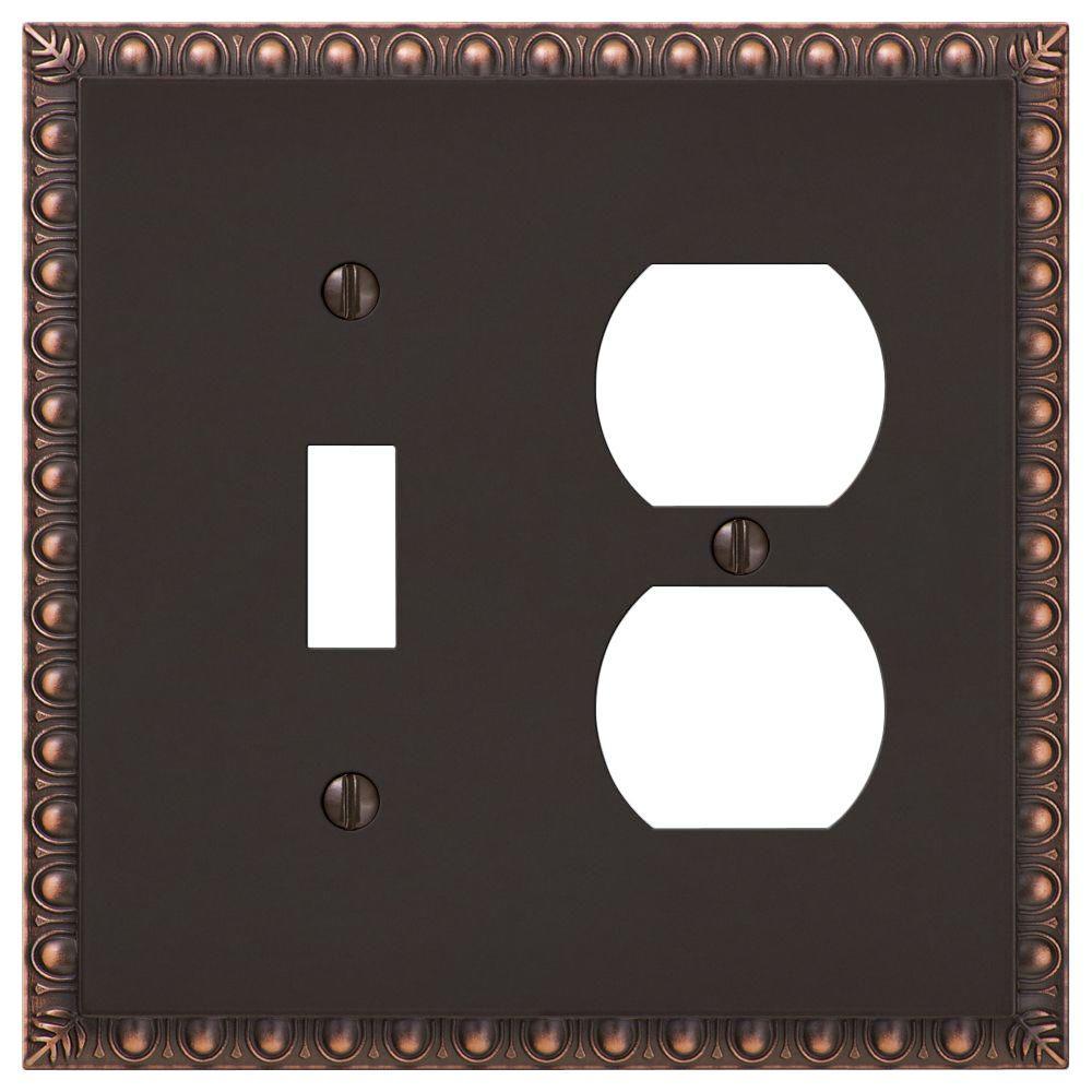 Renaissance 1 Toggle 1 Duplex Wall Plate - Aged Bronze