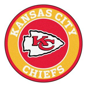 853f9d7a FANMATS NFL Kansas City Chiefs Gold 2 ft. x 2 ft. Round Area Rug-17963 -  The Home Depot
