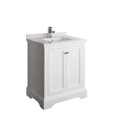 Windsor 30 in. W Traditional Bathroom Vanity in Matte White with Quartz Stone Vanity Top in White with White Basin