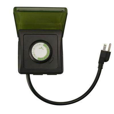 15-Amp 24-Hour Outdoor Plug-In Heavy-Duty Dual-Outlet Mechanical Timer, Black