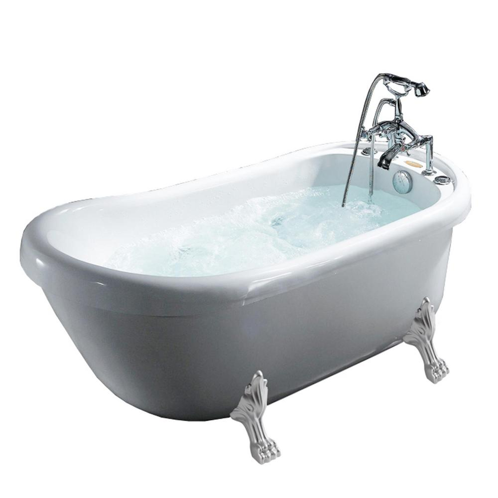 Ariel 66.9 in. Acrylic Clawfoot Whirlpool Bathtub in White-BT-062 ...