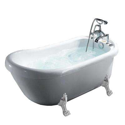 66.9 in. Acrylic Clawfoot Whirlpool Bathtub in White