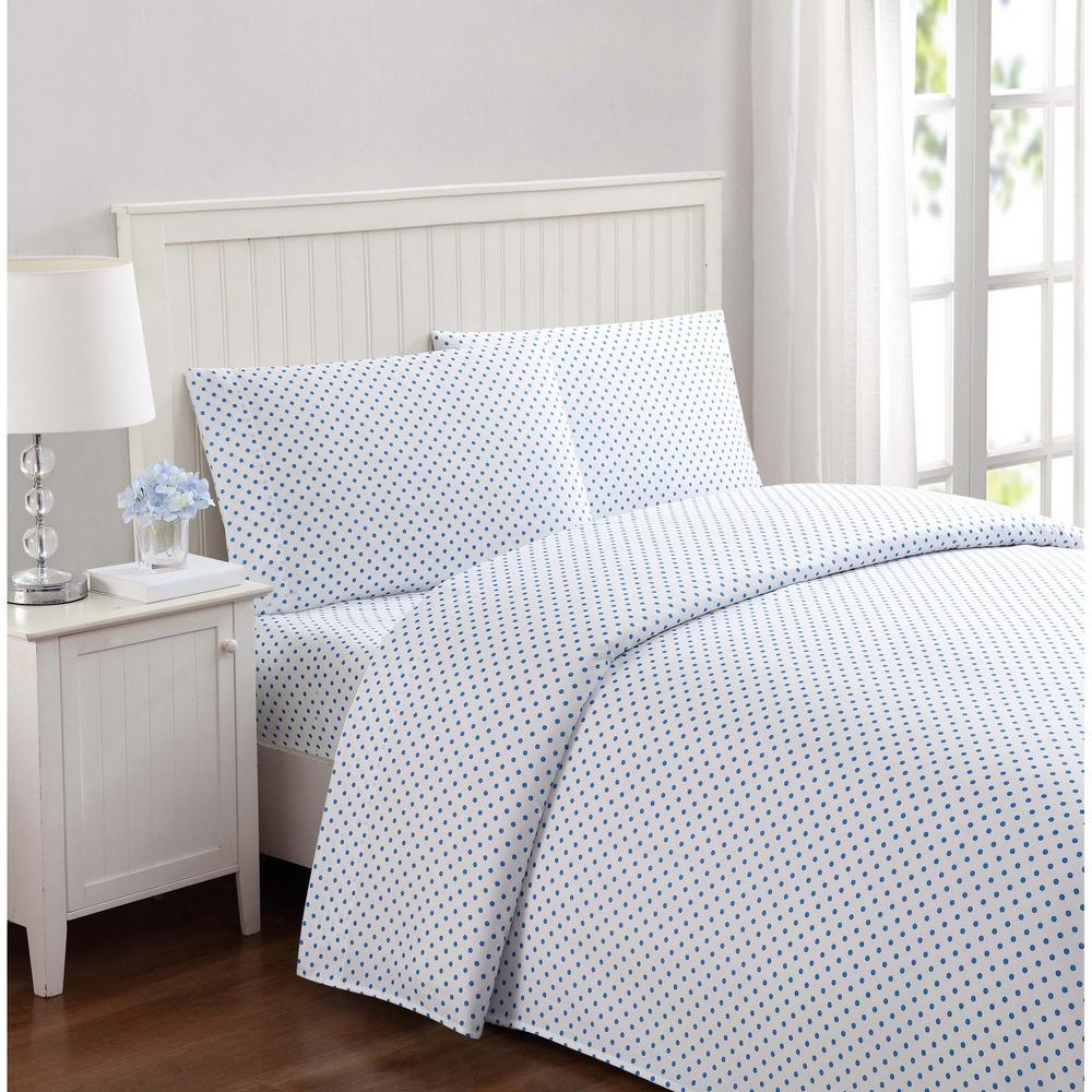 Everyday Dot Blue Twin Sheet Set