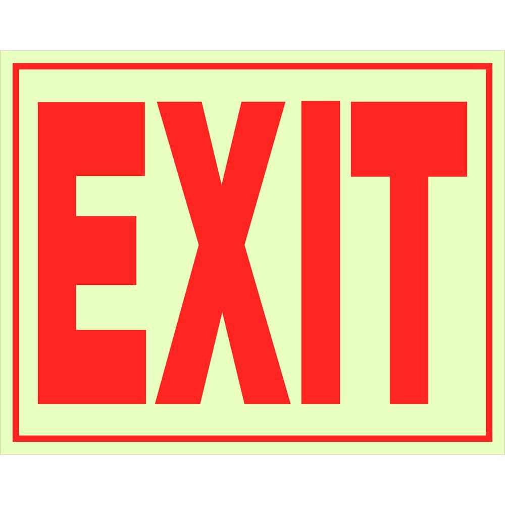 Everbilt 8 in. x 11 in. Glow-in-the-Dark Exit Sign