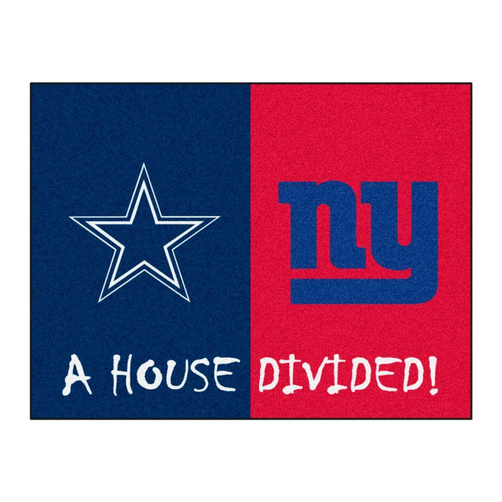 Fanmats Nfl Cowboys Giants Navy House Divided 2 Ft 10