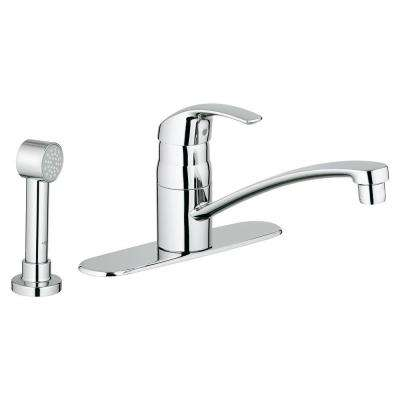 Eurosmart Single-Handle Side Sprayer Kitchen Faucet in Starlight Chrome with Escutcheon