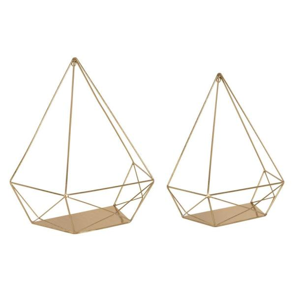 Kate and Laurel Prouve 14 in. x 7 in. x 15 in. Gold Metal Decorative Wall Shelf
