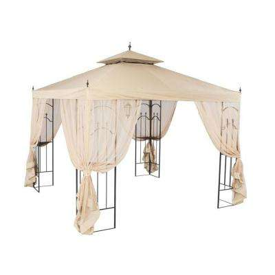 RipLock 350 Beige Replacement Canopy and Side Mosquito Netting Set for 10 ft. x 10 ft. Arrow Gazebo
