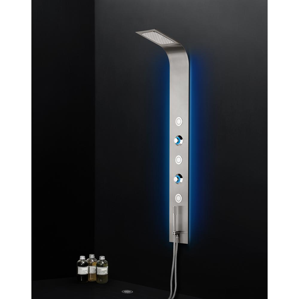 BOANN 3 Jet Full Body Shower System With Water Powered LED Lights And Spray  Wand