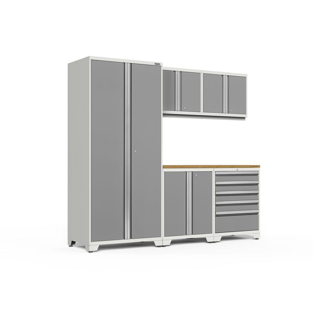 Pro 3.0 92 in. W x 83.25 in. H x 24 in. D 18-Gauge Welded Steel Bamboo Worktop Cabinet Set in Platinum (6-Piece)