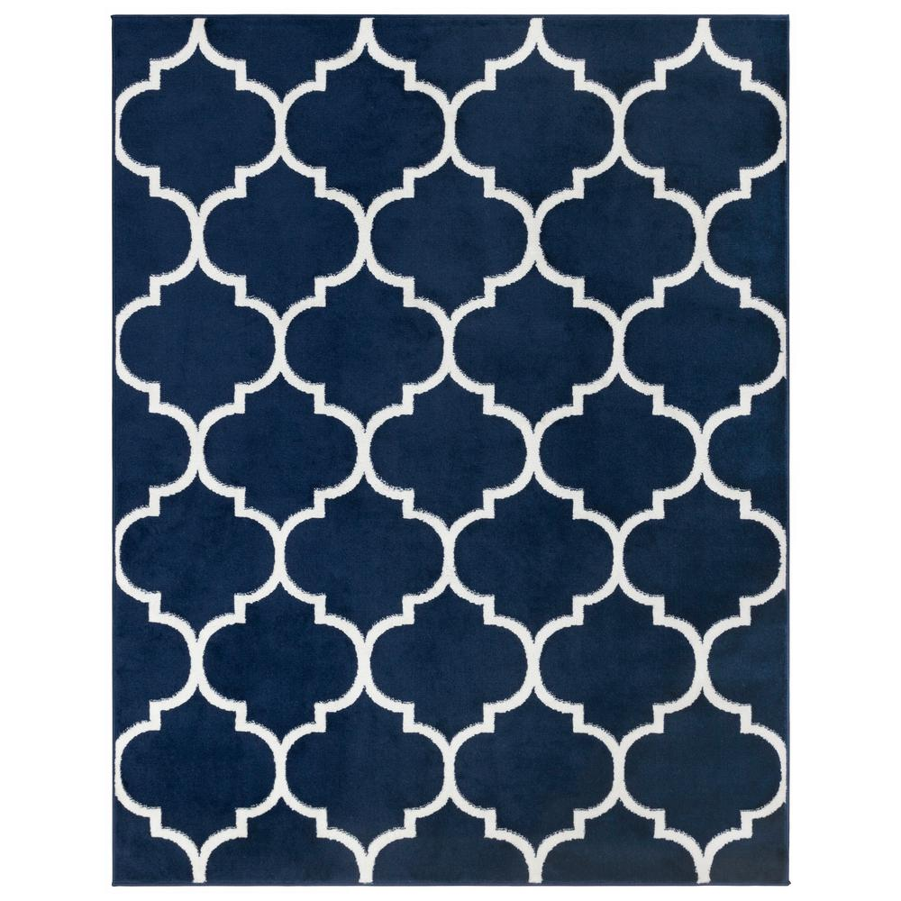 Ottomanson Royal Collection Navy Trellis Design 7 ft. 10 in. x 9 ft. 10 in. Area Rug