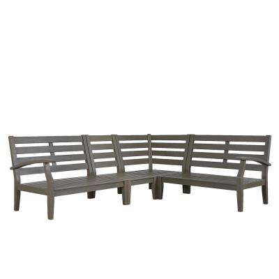 Verdon Gorge Gray 3-Piece Oiled Wood Outdoor Sectional