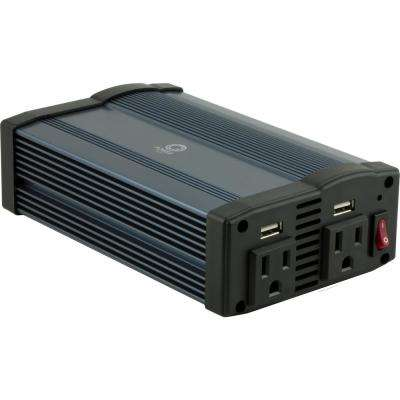 Portable Power Inverter with 2 AC Outlets and 2 USB Ports, Black