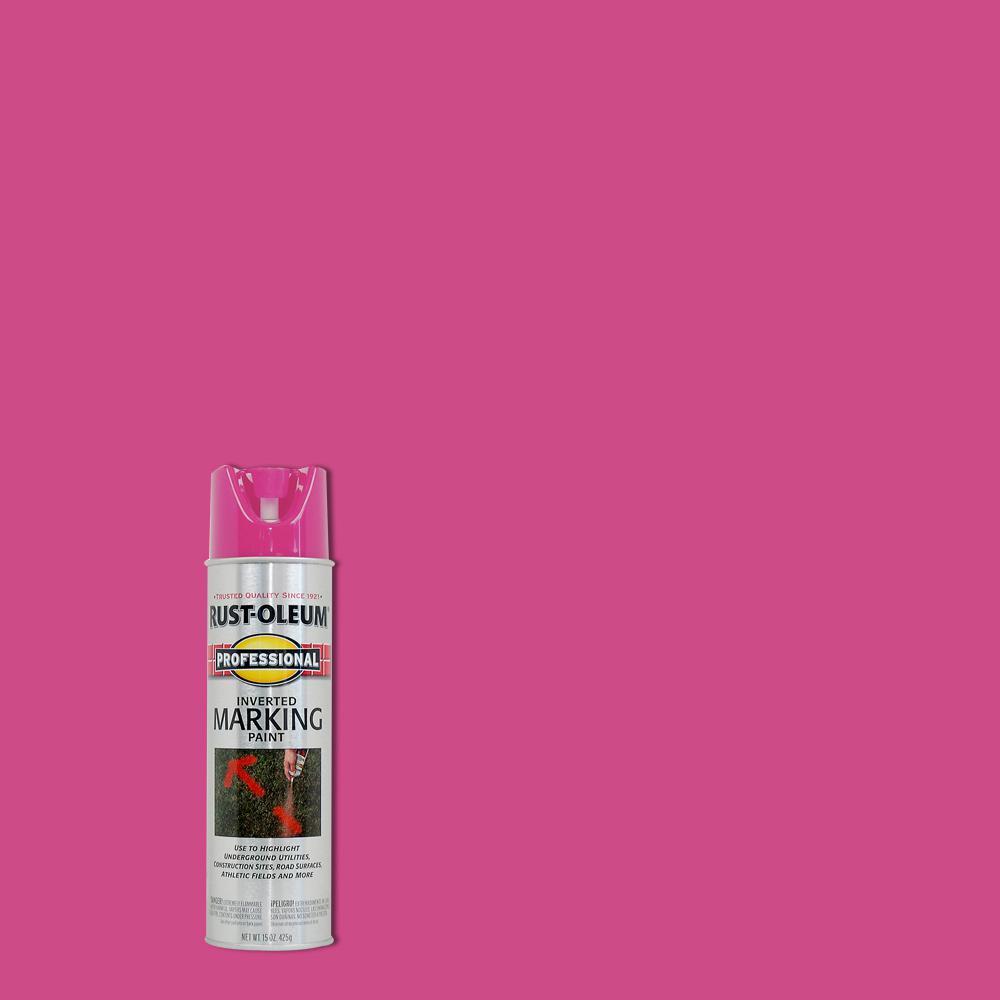 Rust-Oleum Professional 15 oz. Fluorescent Pink Inverted Marking Spray Paint