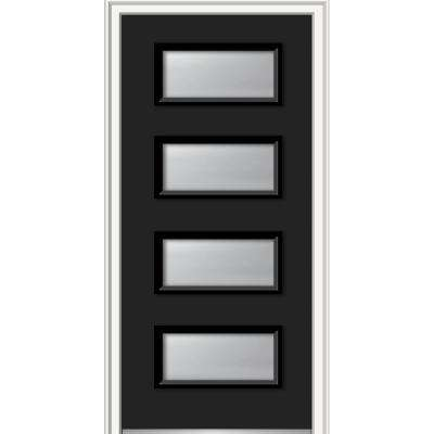 36 in. x 80 in. Celeste Left-Hand Inswing 4-Lite Clear Painted Fiberglass Smooth Prehung Front Door, 4-9/16 in. Frame