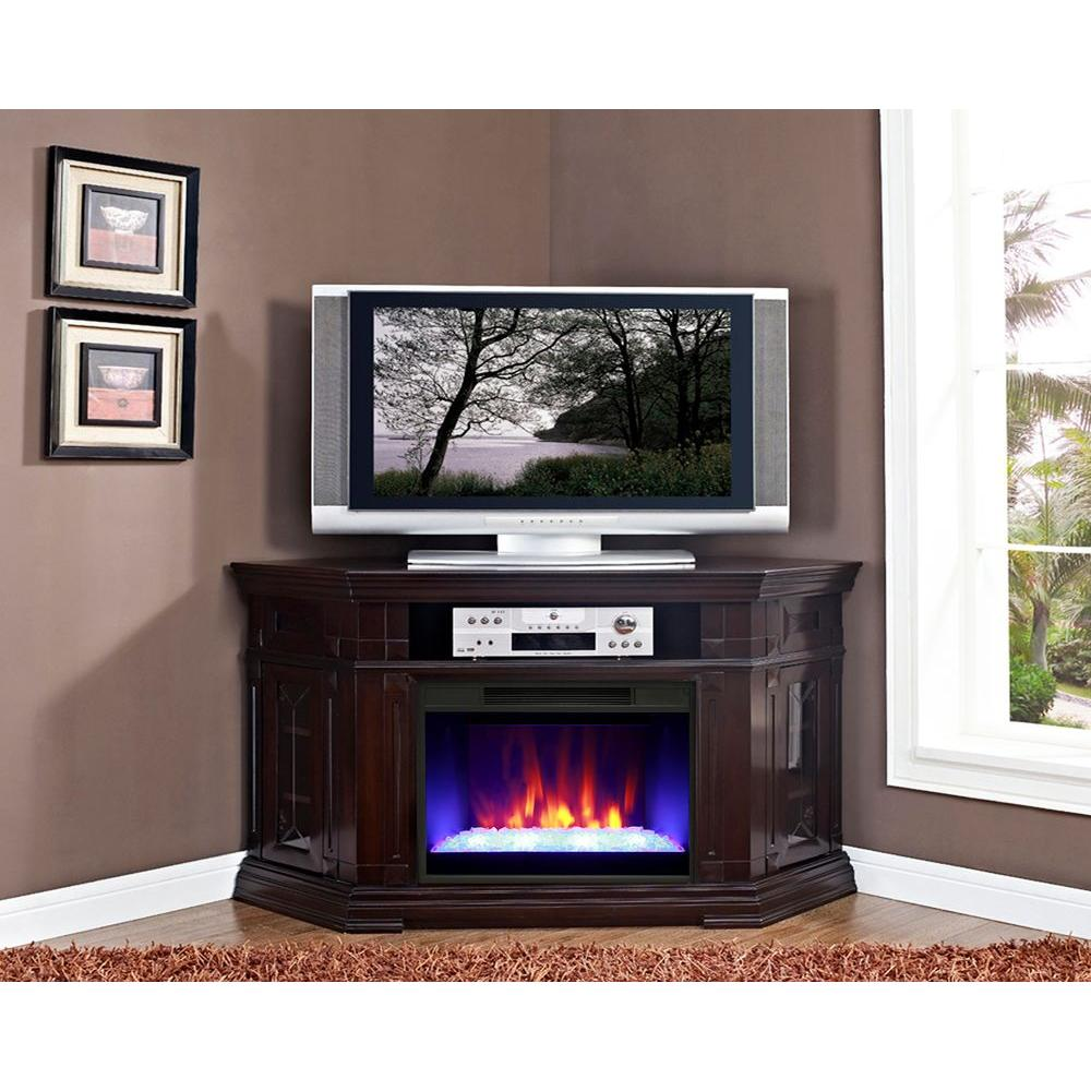 Greenway Caldon 59 in. Electric Fireplace Media Mantel with Corder Design in Burnished Walnut