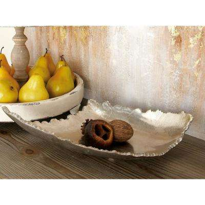 16 in. x 5 in. Blemished Silver Aluminum Free-Form Bowled Tray