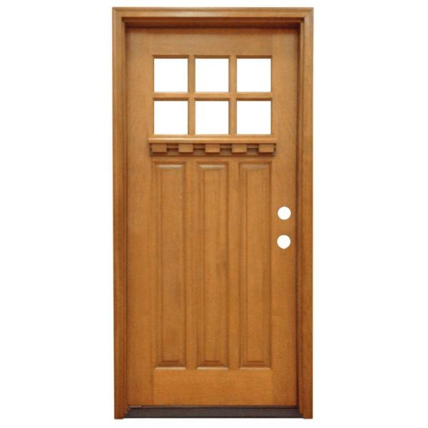 Steves Sons 32 In X 80 In Craftsman 6 Lite Stained Mahogany Wood Prehung Front Door M3306 2 Aw Mj 4olh The Home Depot