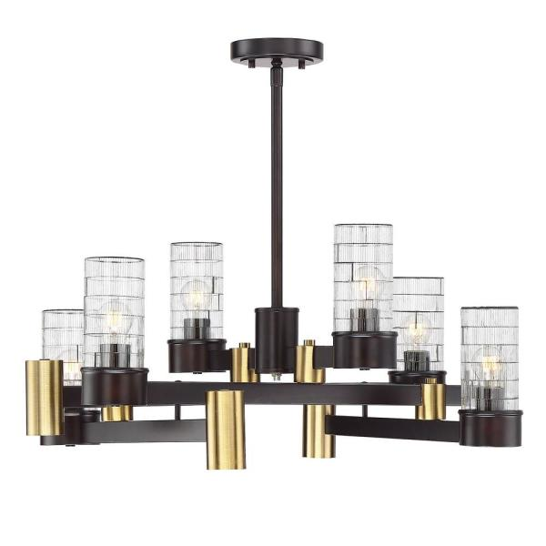 12-Light English Bronze and Warm Brass Chandelier with Clear Channeled Glass