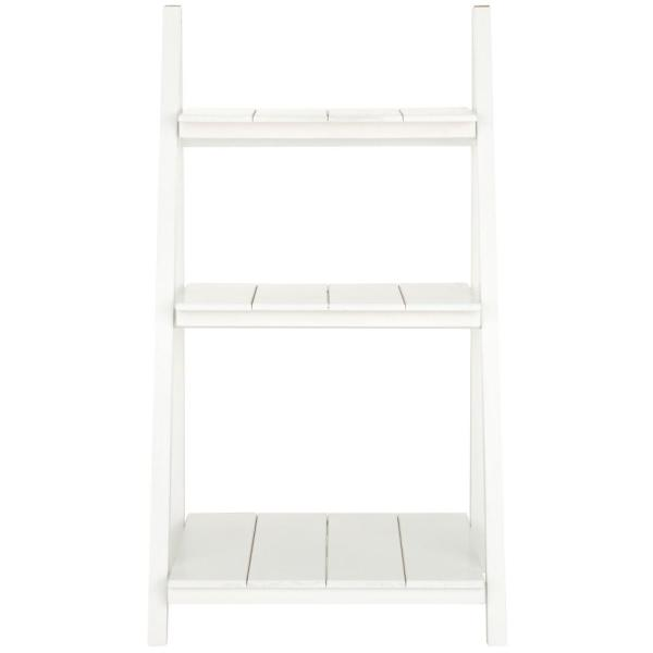 Casual Home Nolan White Folding 3-Shelf Ladder Bookcase