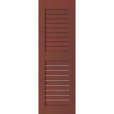 15 in. x 54 in. Exterior Real Wood Pine Louvered Shutters Pair Country Redwood