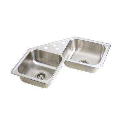 Neptune Drop-In Stainless Steel 32 in. 4-Hole Double Bowl Kitchen Sink