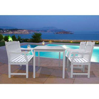 Bradley Acacia White 4-Piece Patio Dining Set with 32 in. W Table and Arched Slat-Back Armchairs, Bench