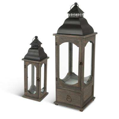 Brown Asst Wood and Metal Lanterns (Set of 2)