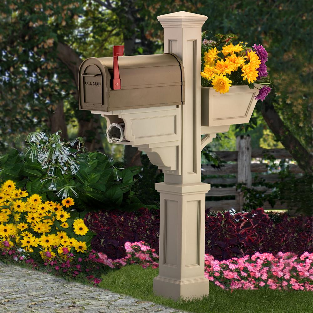 Mayne Signature Plus Plastic Mailbox Post Clay 580800100